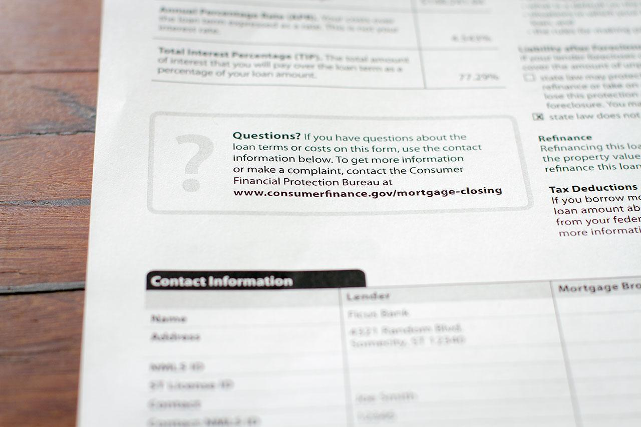 The URL On A Paper Loan Estimate Form.